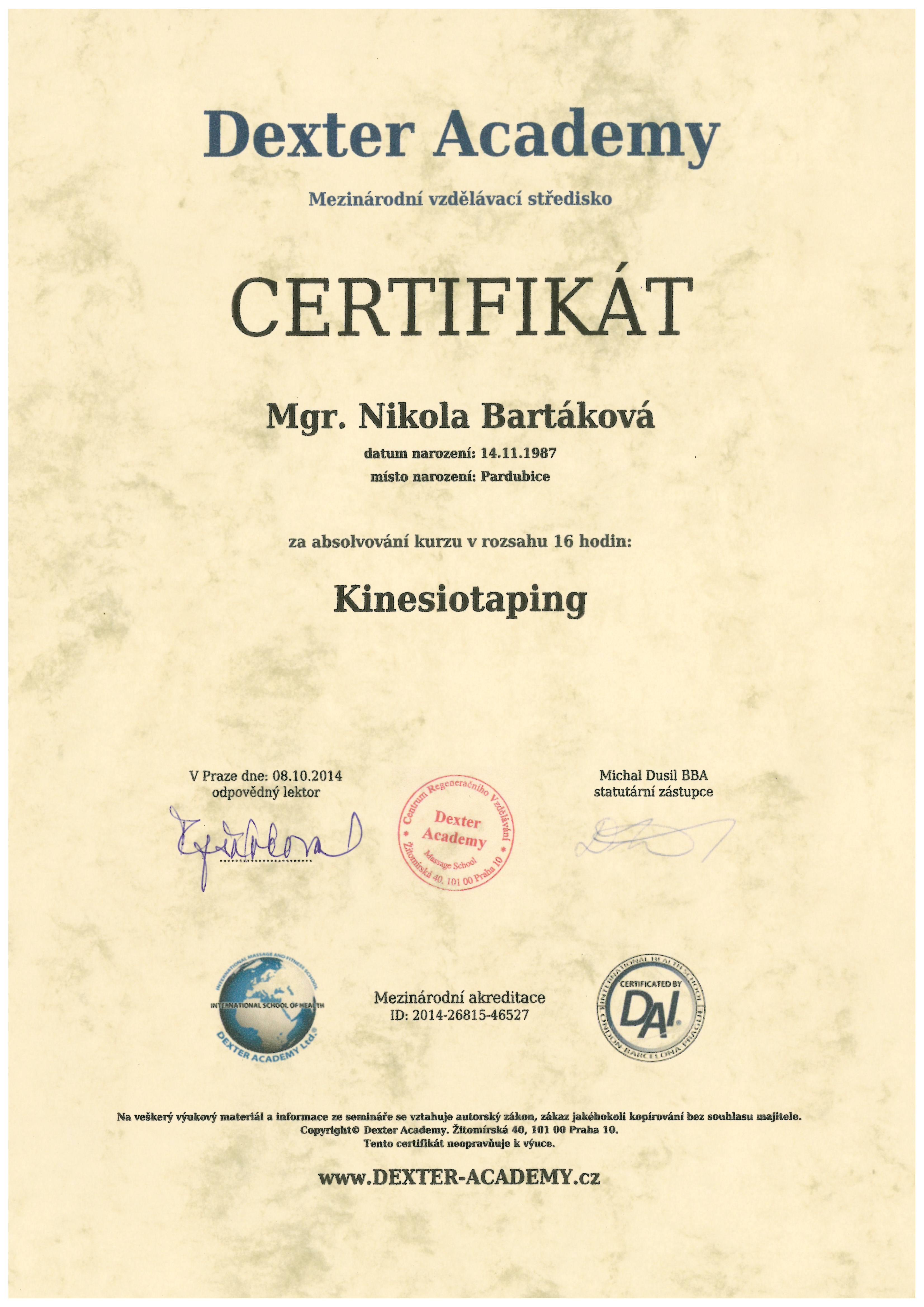 certifikat dexter kindesiotape 2014
