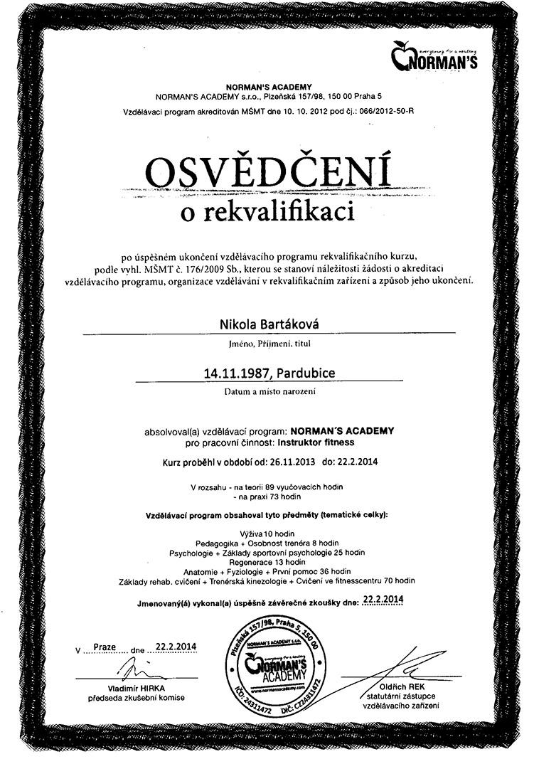 certifikat Normans 2014