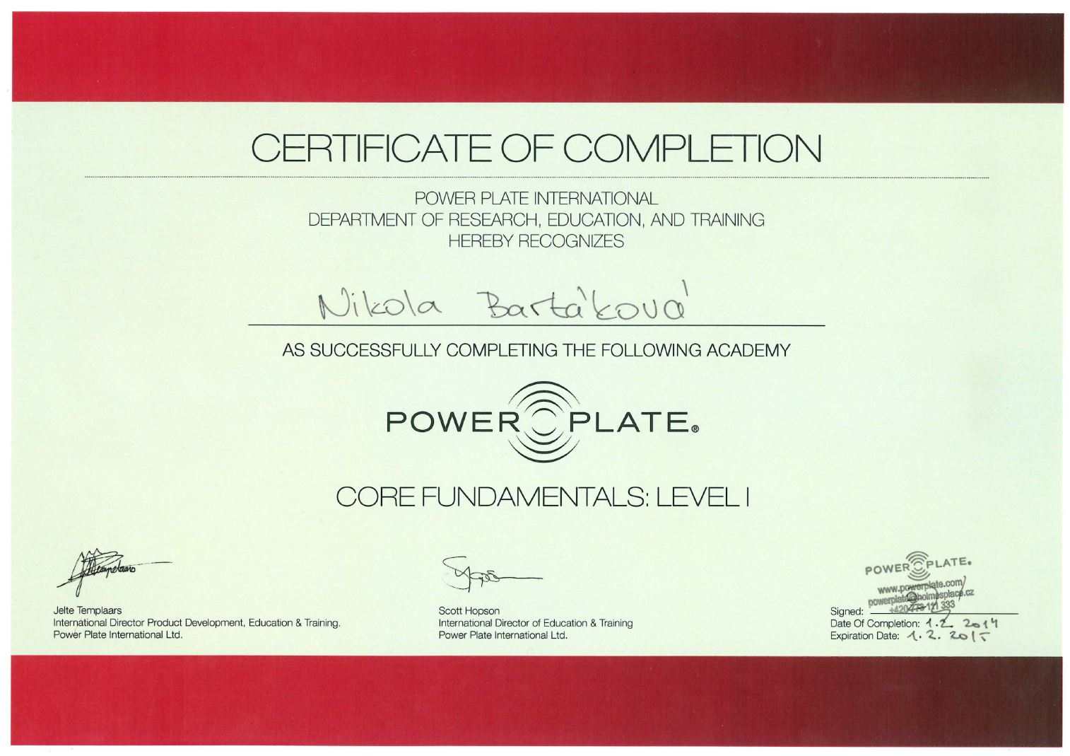 certifikat powerplate 2014