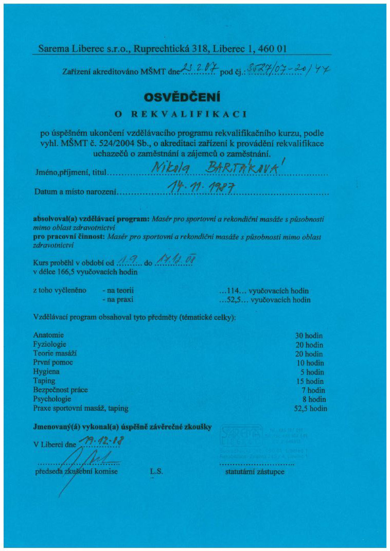 certifikat rekvalifikace 2008