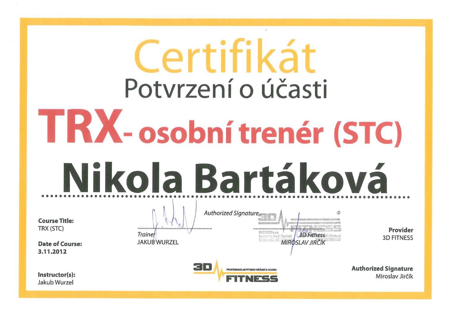 certifikat trx 2012